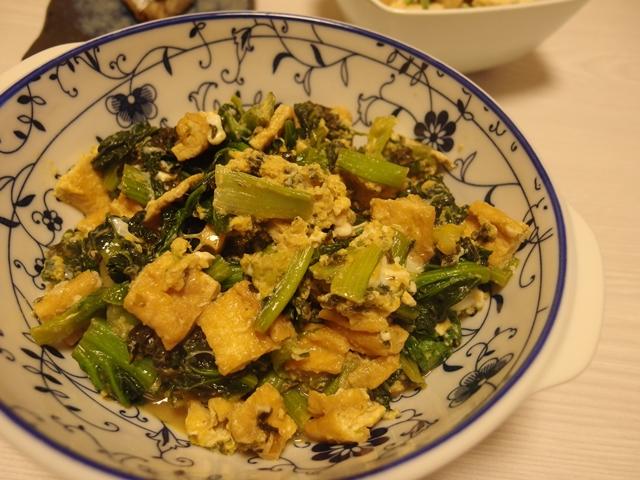 ちぢみ雪菜と揚げの海苔バター醤油卵とじ