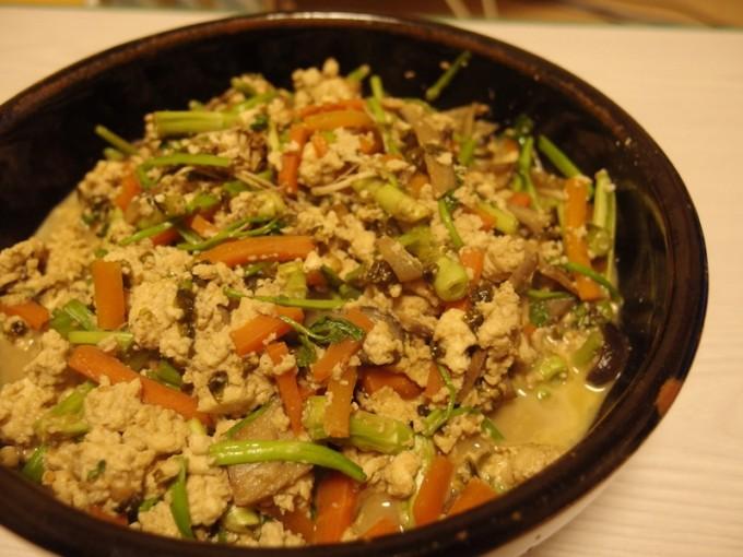 せりと海苔の炒り豆腐