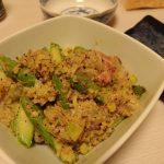 鯛とアスパラのごま味噌ゆかり和え・山椒風味の鶏ごぼう炒り卵