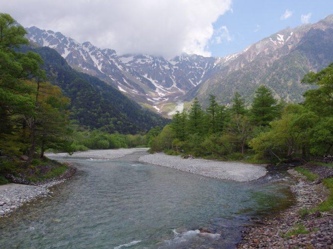 初夏の上高地河童橋上から望む美しい穂高岳