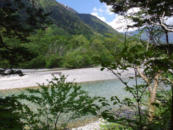 初夏の青空と白い川原が美しい上高地梓川