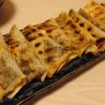 塩つくねの磯辺チーズ焼き春巻き・アンチョビ山椒厚揚げ・かつおと行者菜のごまユッケ