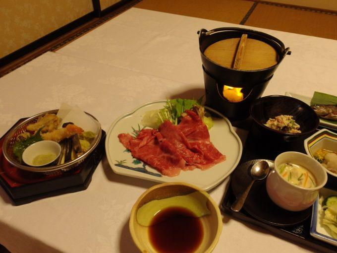 赤倉温泉湯守の宿三之亟夕食天ぷら牛しゃぶ
