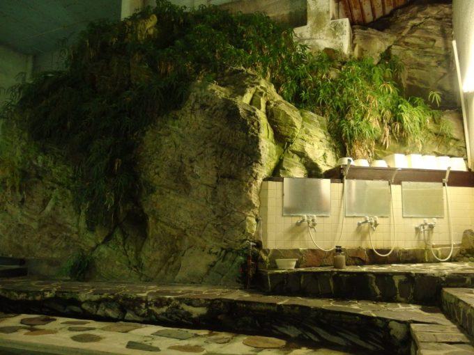 赤倉温泉湯守の宿三之亟植物が生える岩盤に埋め込まれた洗い場