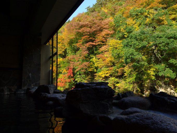 大沢温泉山水閣豊沢の湯窓の外に広がるせせらぎと紅葉