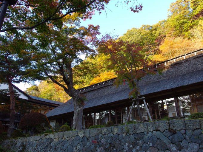 大沢温泉菊水館茅葺屋根を彩る色付く山