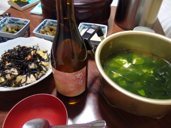 大沢温泉自炊湯治献立わかめ豆腐菊の司秋季限定茜