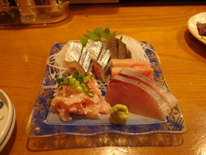 宮古海鮮居酒屋山水お刺身(さんま・かんぱち・まぐろ・カジカの肝和え)