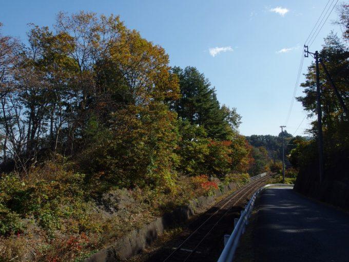 三陸鉄道単線レールを彩る秋の木々