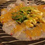 鯛と庄内あさつきの味噌パッチョ・へしこペペロンマッシュルーム・海老芋と豚の揚げ出し風