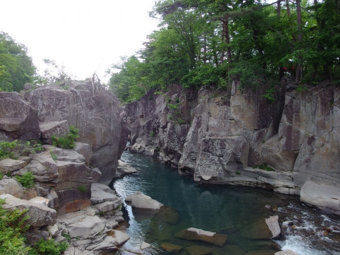 磐井川が長い年月をかけて岩を穿ち造り上げた厳美渓