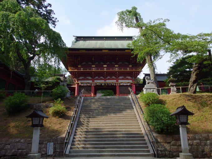長い石段の鹽竈神社表参道を登りきる