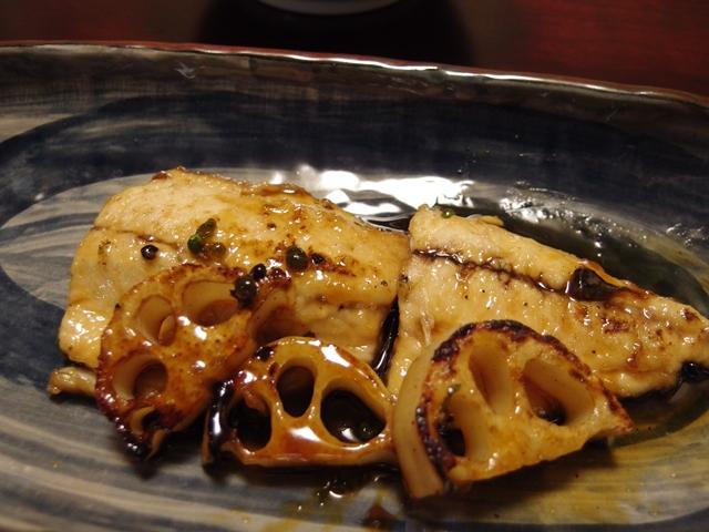 鯵と新れんこんの実山椒蒲焼き