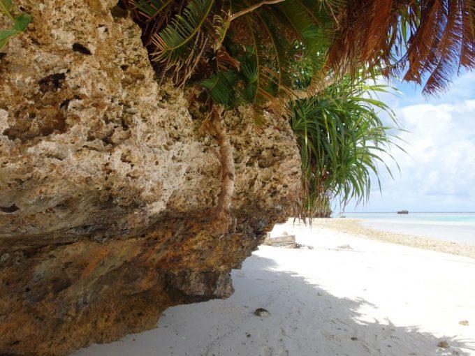 石垣島川平湾隆起した珊瑚の岩陰で一休み
