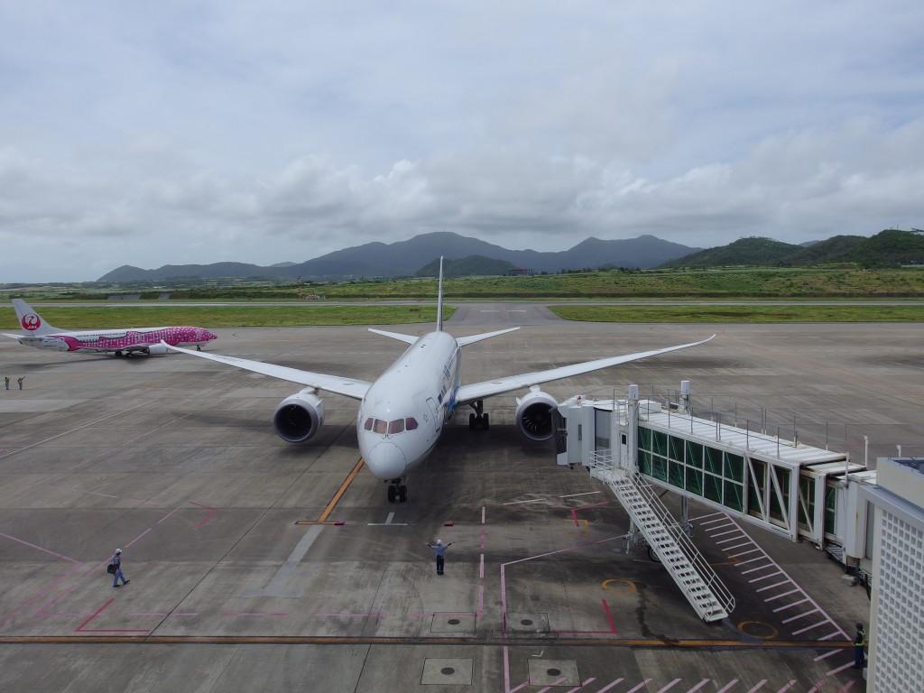 南ぬ島石垣空港駐機中のANAB787