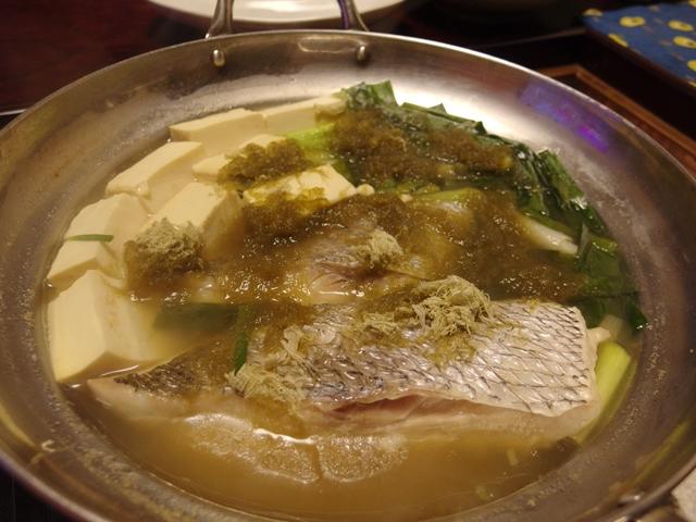 ヒガシマルで鯛ねぎ豆腐