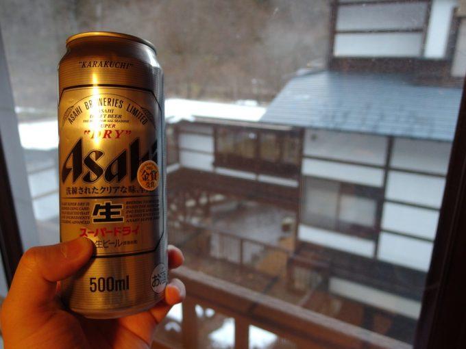 奥湯沢秘湯貝掛温泉湯上がりに冷たいビール