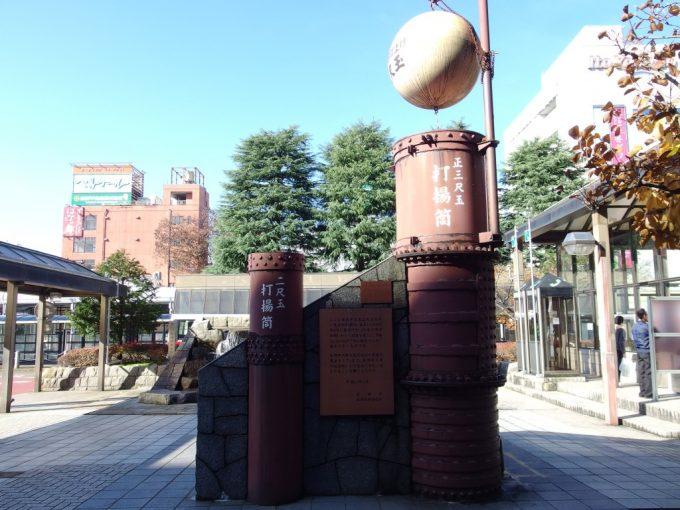 長岡駅前の立派な花火打揚筒