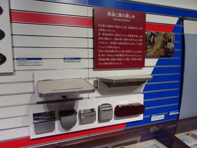 新津鉄道資料館マニアックな灰皿とテーブルの展示