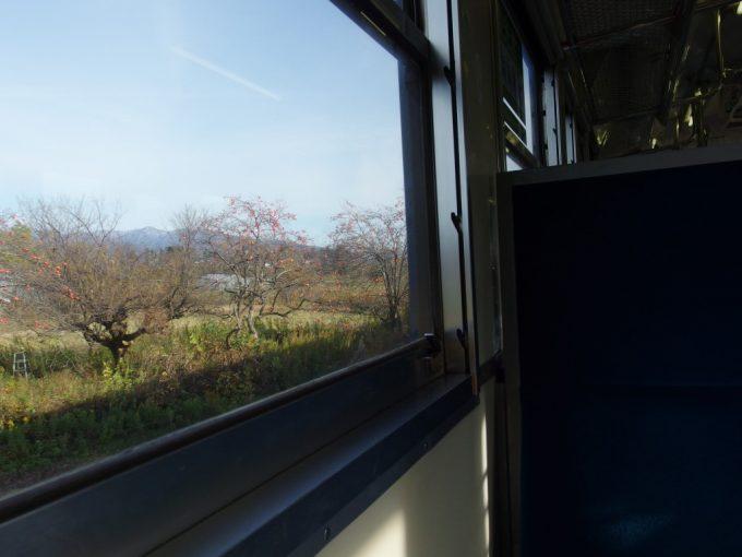 磐越西線キハ47晩秋の車窓を彩る柿の木