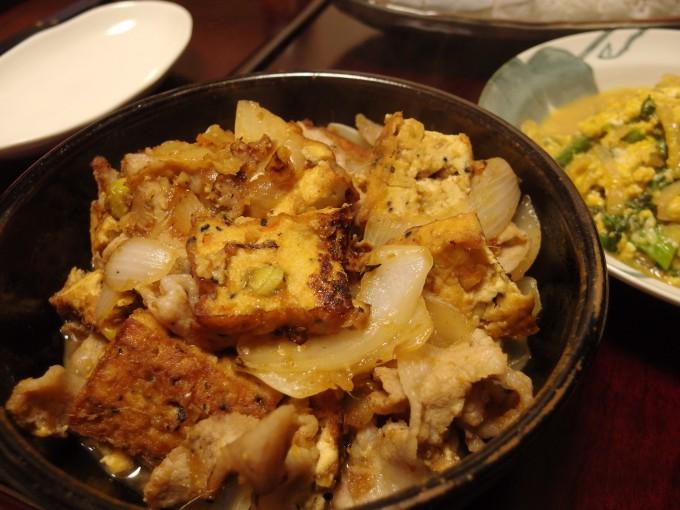厚揚げと豚トロの生姜焼き