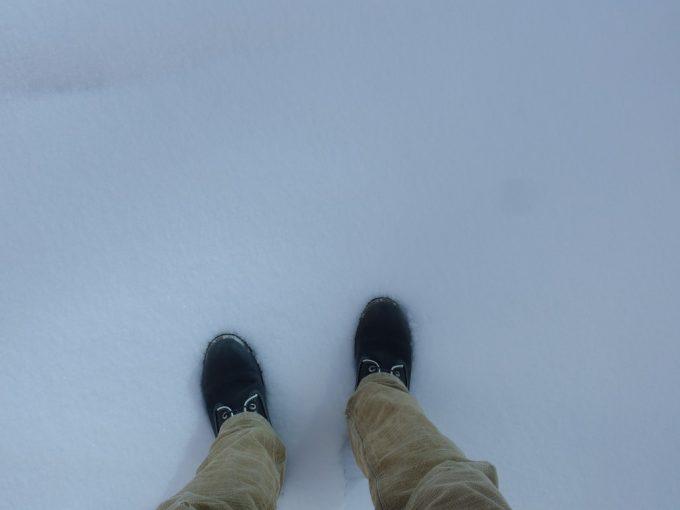福島駅西口の積雪を踏む