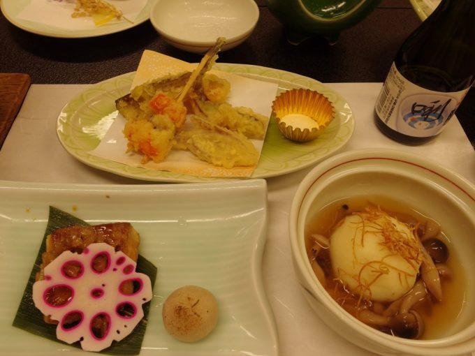 高湯温泉旅館玉子湯芋饅頭茸餡、銀宝照焼、はたはたや海老の天ぷら