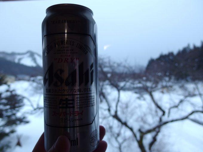 小野川温泉河鹿荘湯上がりに冷たいビール