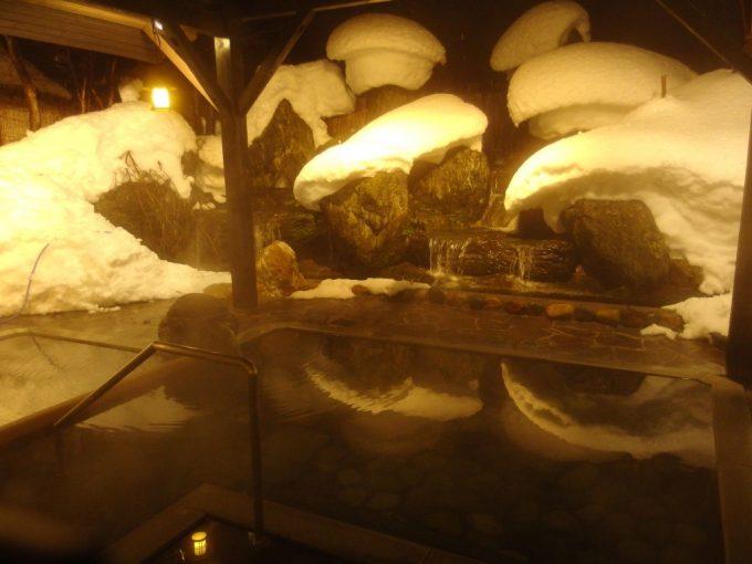 小野川温泉河鹿荘せせらぎ雪見の露天風呂