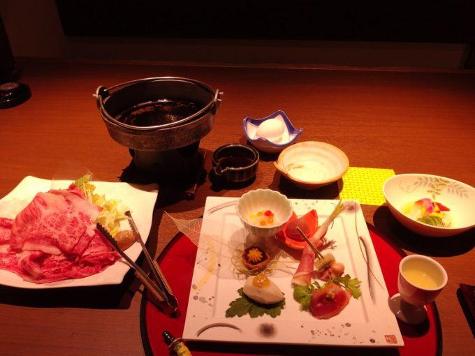 小野川温泉河鹿荘前菜と米沢牛すき焼き