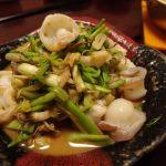 せりと水だこのかんずり炒め・ヒガシマルで下仁田親子豆腐