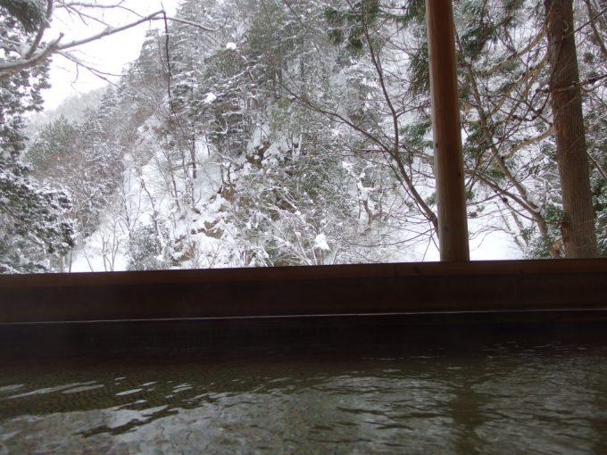 豪雪の米沢白布温泉中屋別館不動閣露天風呂から眺める最上川源流渓谷雪景色