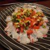 鯛の行者にんにくカルパッチョ・煎り大豆でスパムひじき
