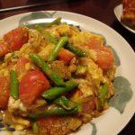 アスパラとトマトのねぎ味噌炒め・はっさくと赤ピーマンのサラダ