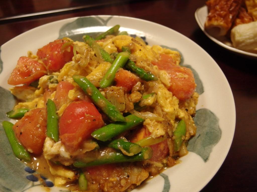 アスパラとトマトのねぎ味噌炒め