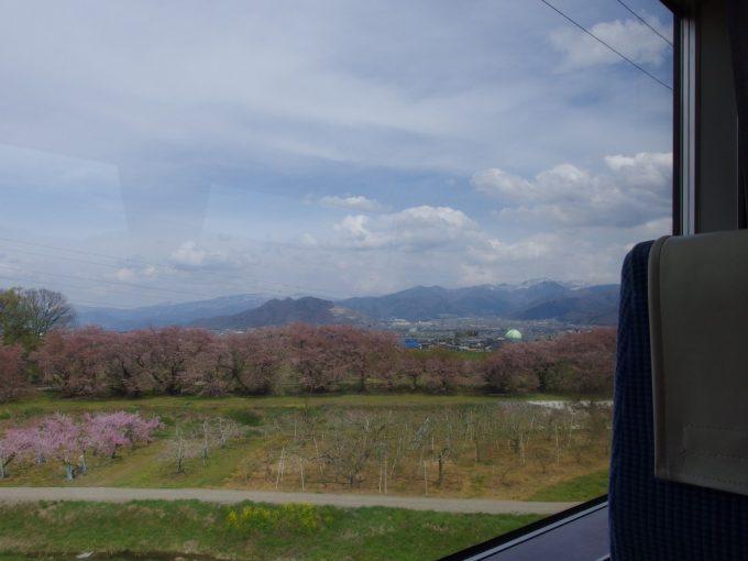 ゆけむり号車窓に広がる終わりかけの桜並木と桃の花