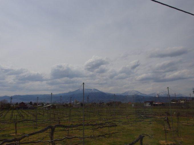 長野電鉄車窓に広がるりんご畑と残雪の北信五岳