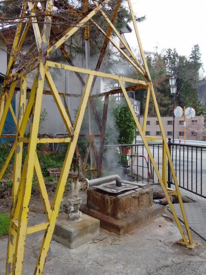 渋の温泉街に点在する源泉井戸