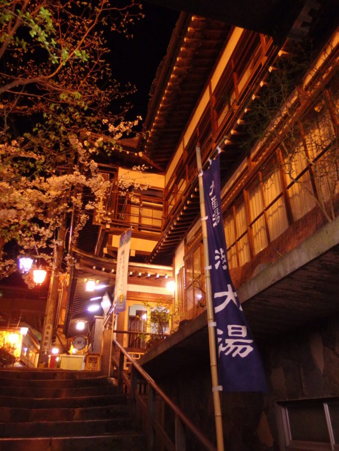 渋温泉大湯から望む木造の湯本旅館