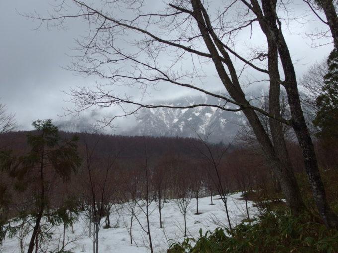 残雪越しに眺める戸隠の山並み