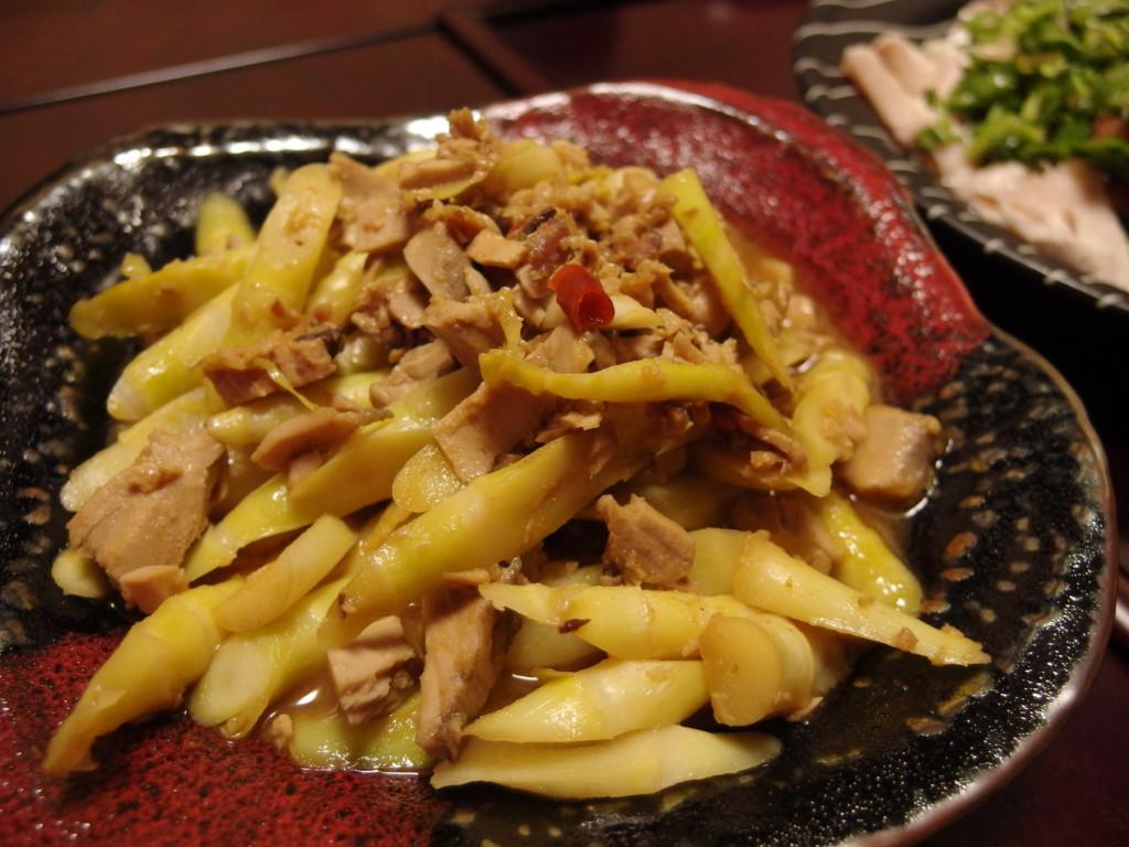 姫竹とかつおそぼろの味噌煮