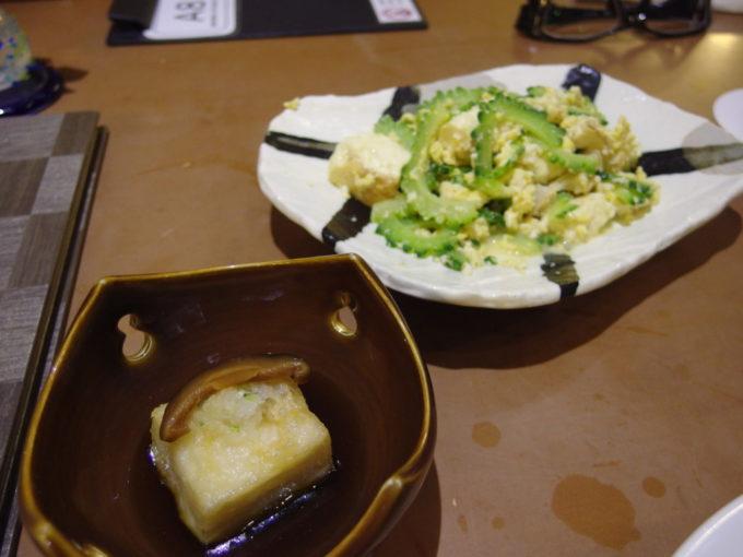 石垣島ビーチホテルサンシャイン赤瓦レストラン波の詩ジーマミ豆腐の揚げ出しとゴーヤーチャンプルー