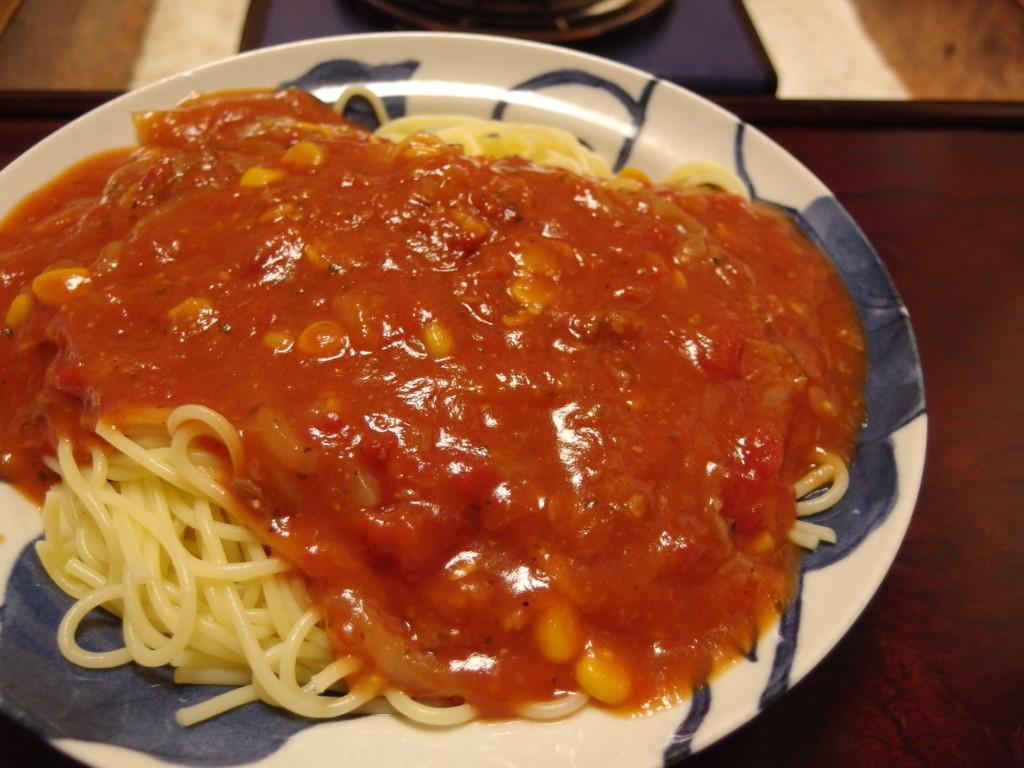 牛丼リメイクコーントマトスパゲティー