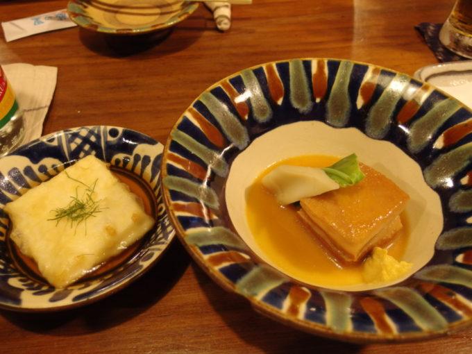 石垣島八重山郷土料理舟蔵の里地豆豆腐の揚げ出しとラフテー
