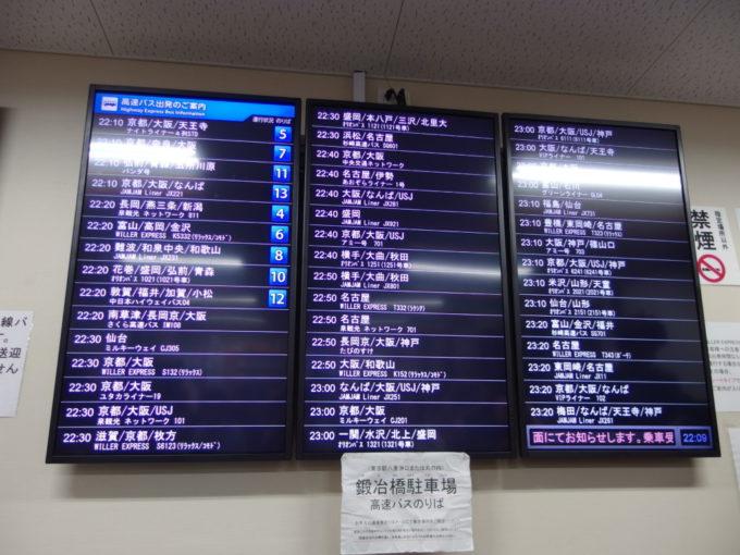 東京駅鍛冶橋駐車場ターミナルの行先案内板