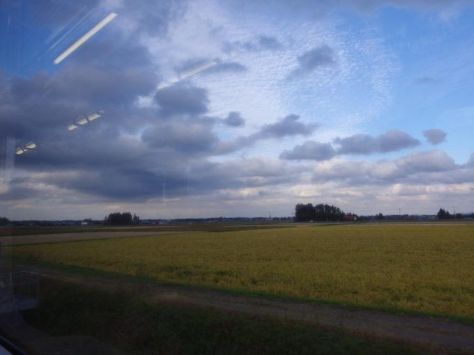 陸羽東線キハ110から眺める宮城の秋の実り黄金色の田んぼ