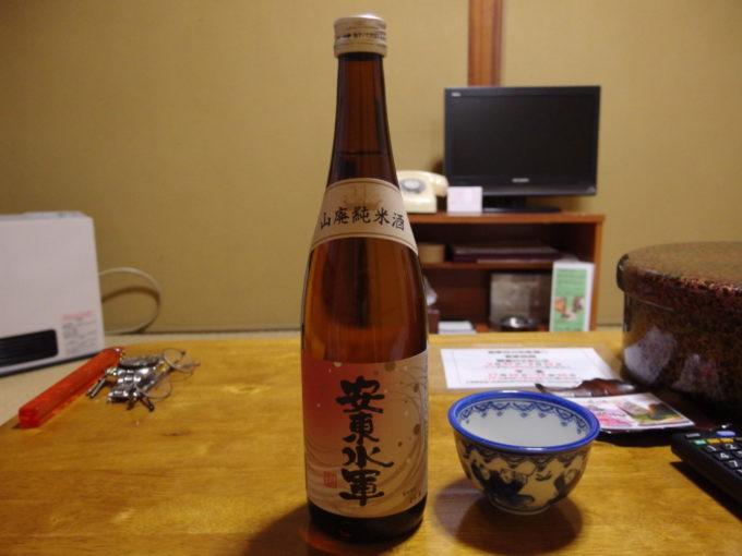 酸ヶ湯温泉旅館夜のお供に安東水軍山廃純米酒