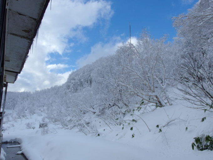 酸ヶ湯で過ごす最後の昼下がり 突然現れた青空に映える雪景色