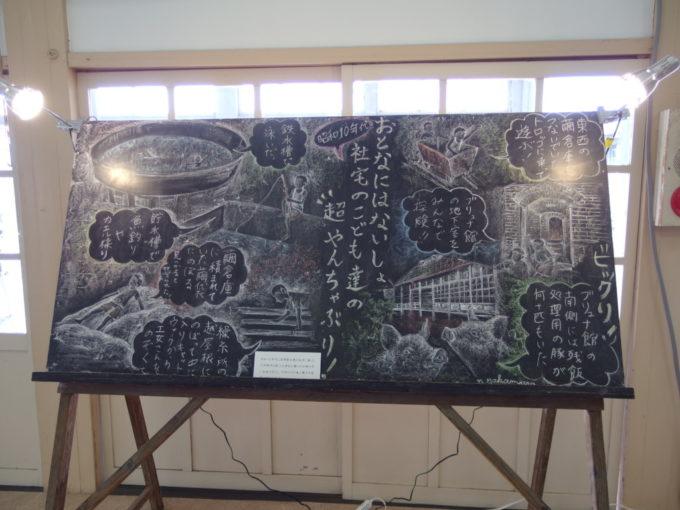 富岡製糸場首長館で行われていたイベントに飾られていた思い出の黒板絵
