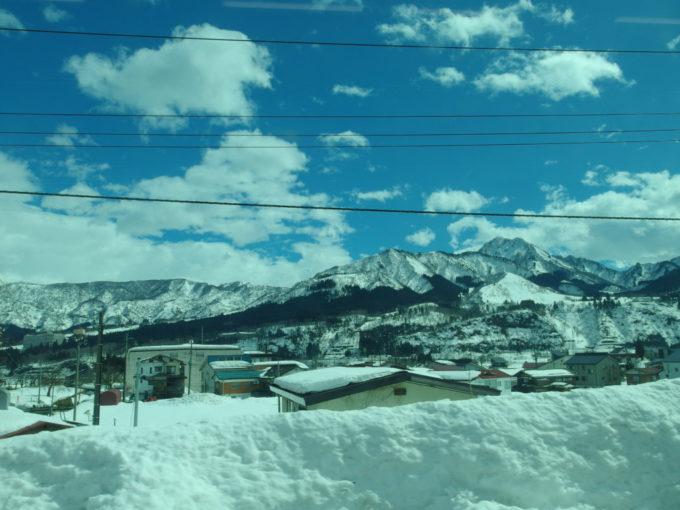 早春の上越線車窓を彩る白銀の山並み